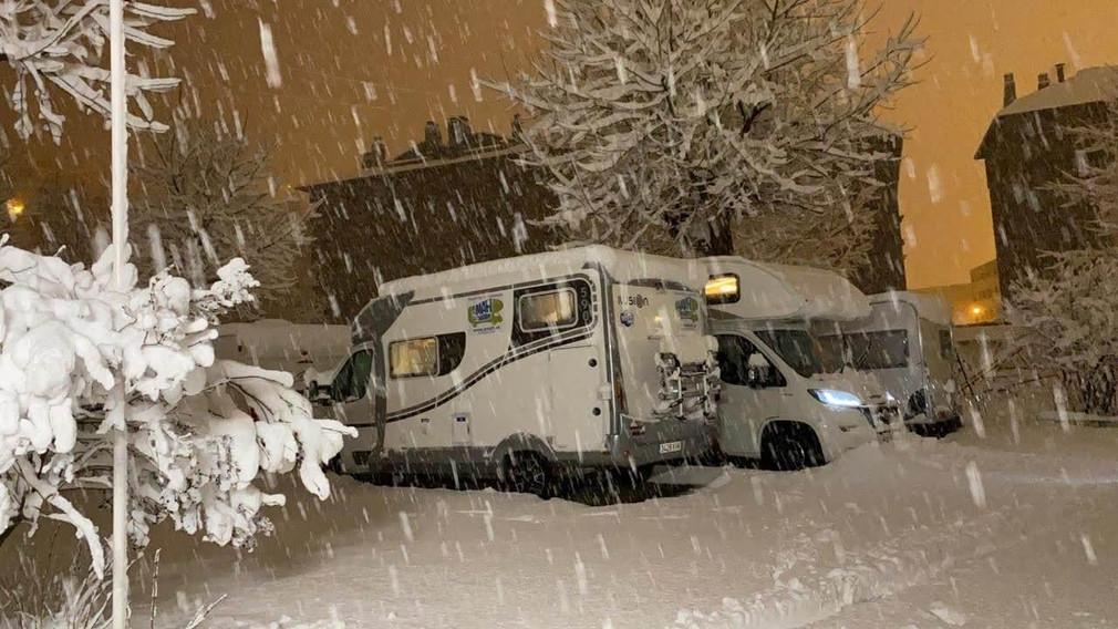 snow in motorhome