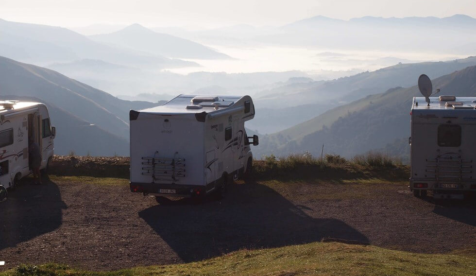 motorhome in the alps