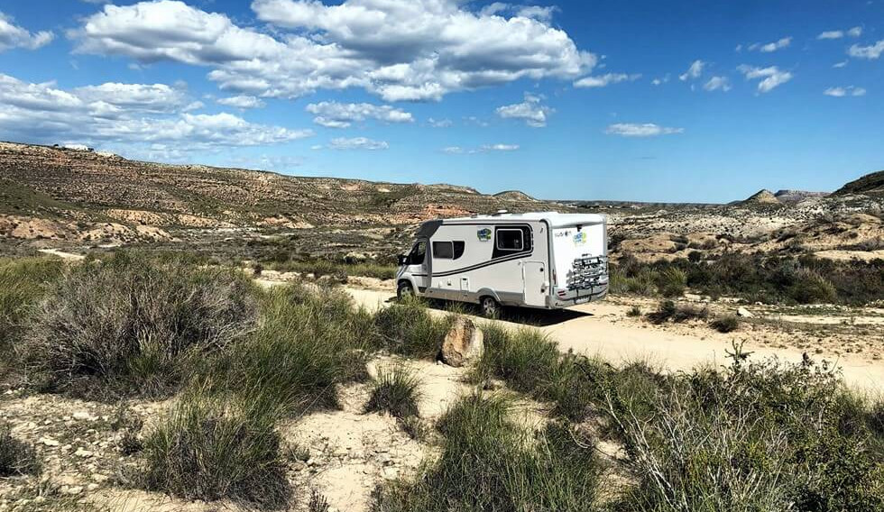 touring the fields in a motorhome