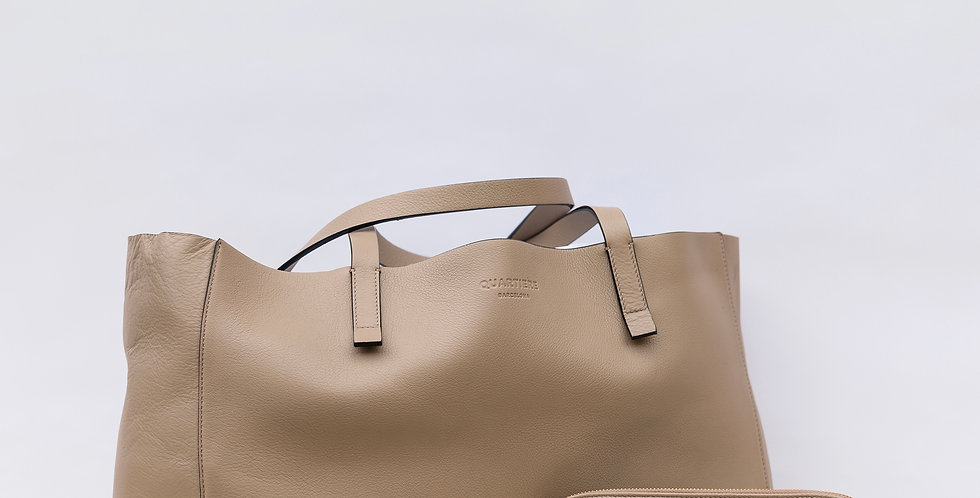 Taupe Leather Tote Bag + Clutch