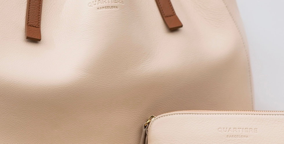 White Leather Tote Bag + Clutch