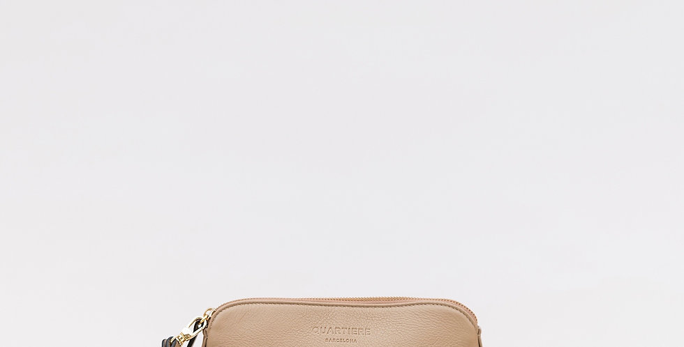 Taupe Leather Clutch Bag