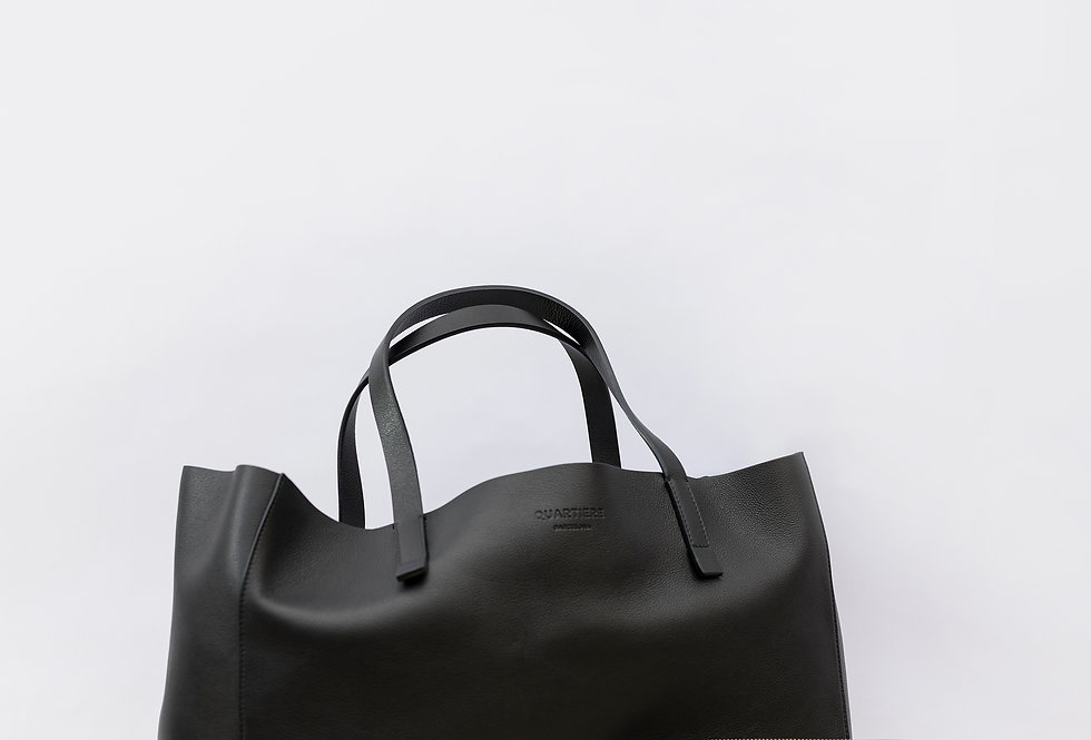Black Leather Tote Bag + Clutch