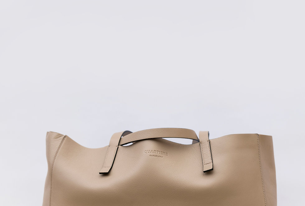 Taupe Leather Tote Bag