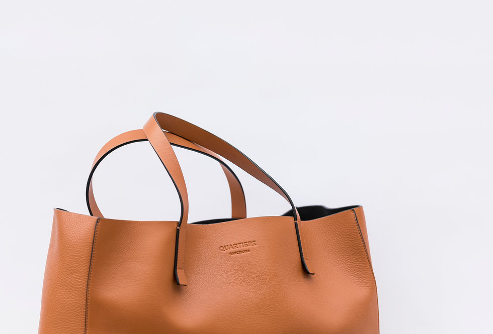 Brown Leather Tote Bag + Clutch
