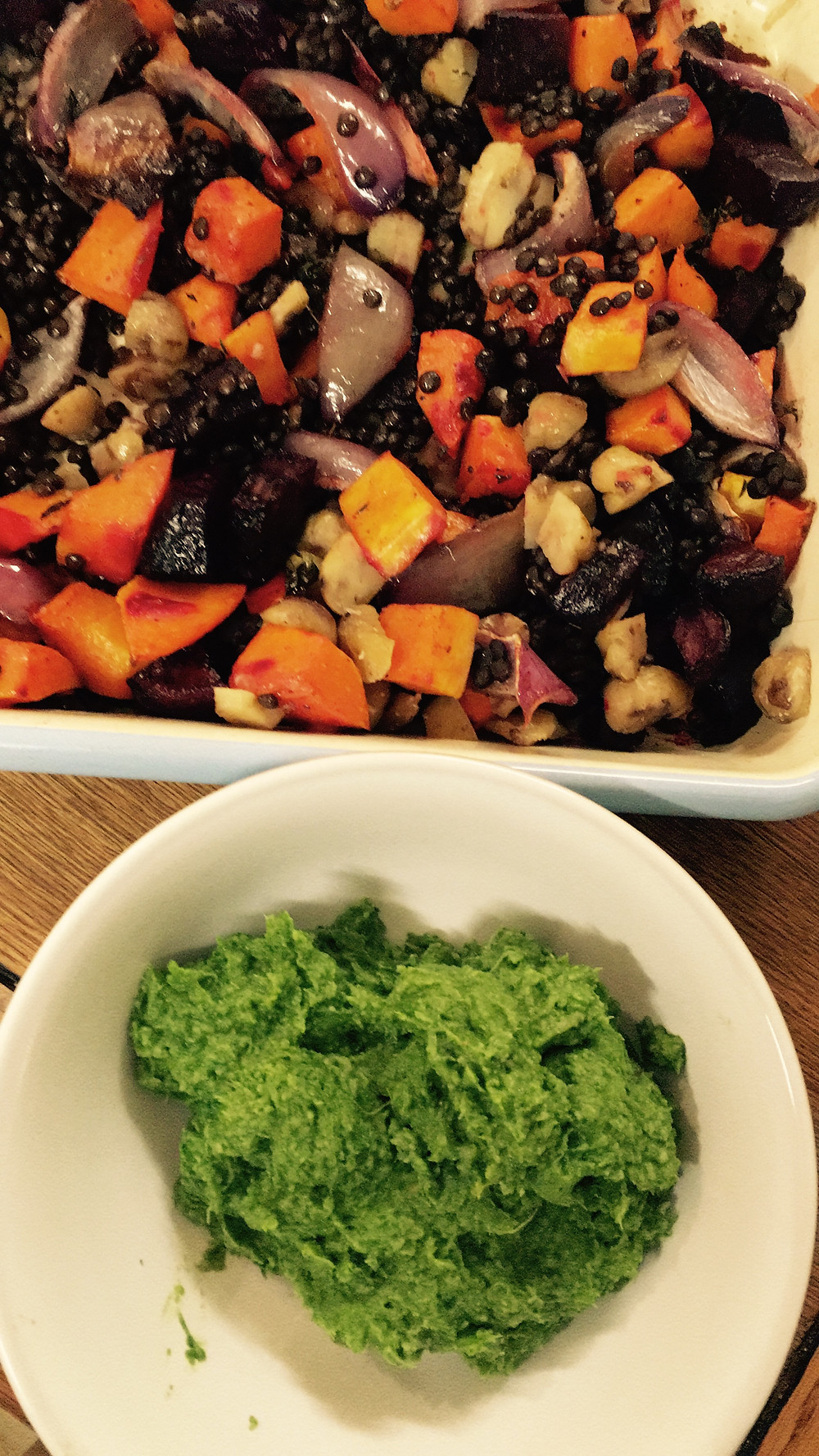 prepared veggies and pesto