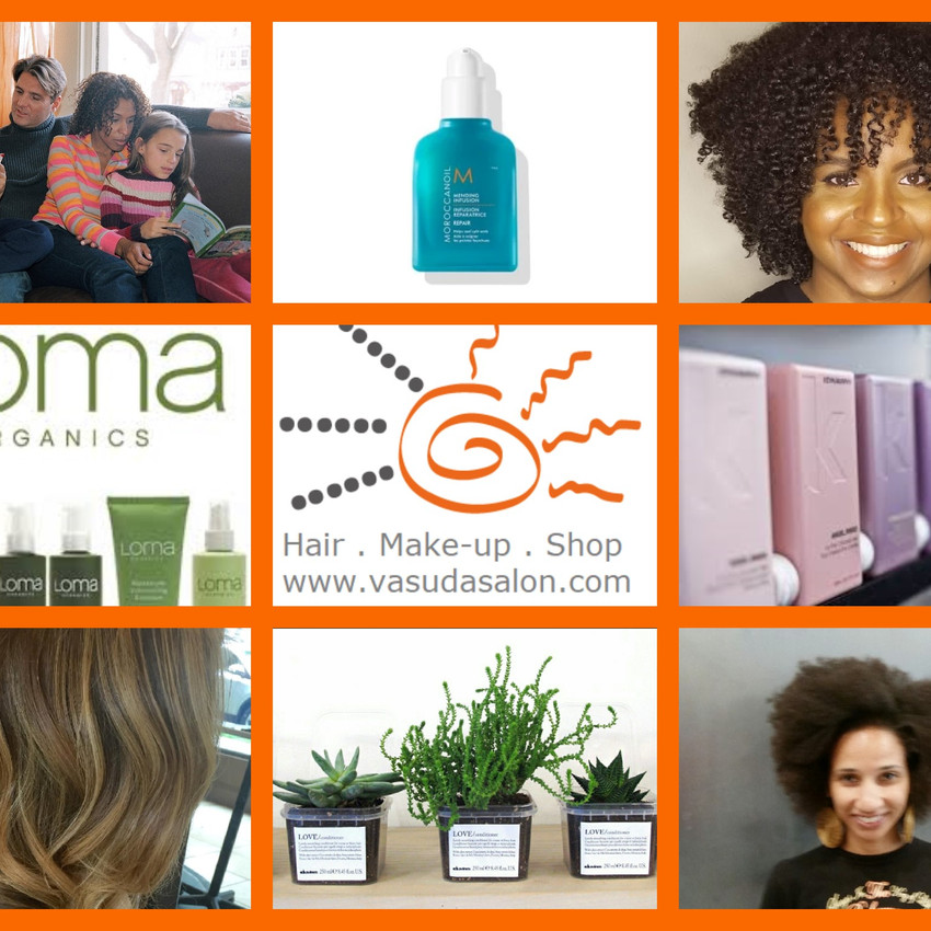 Client and product collage orange