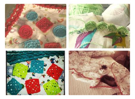 Retazo de tela + Crochet = un lindo mantel