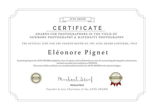 Award reçue par Eléonore Pignet Studio PhotoYvelines de Beynes Meilleure Photographe