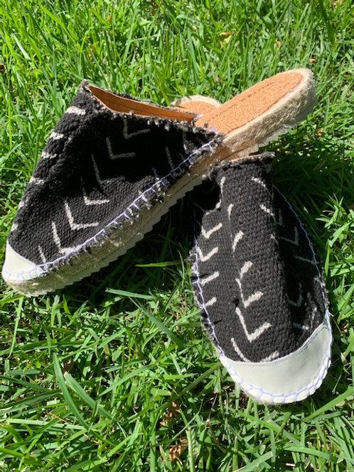 Black Mud Cloth Mules