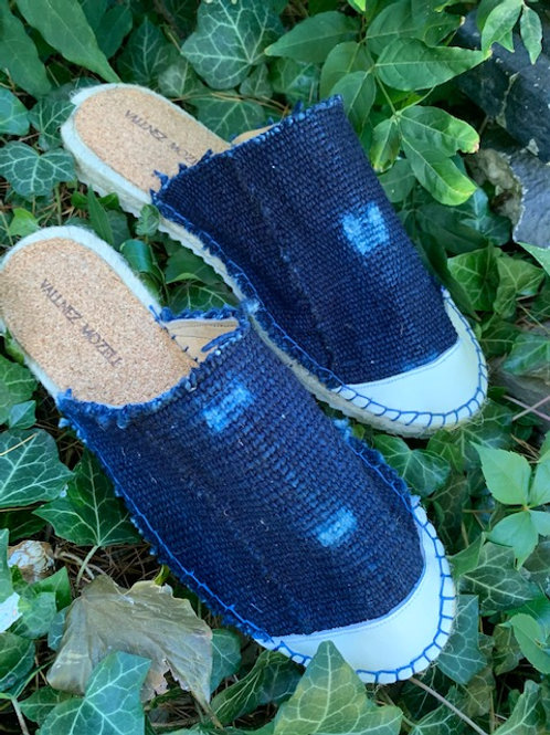 Indigo Mud Cloth Mules