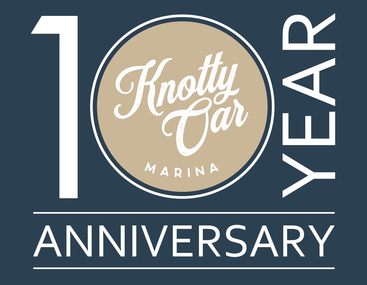Knotty Oar Marina 10th Anniversary Logo_