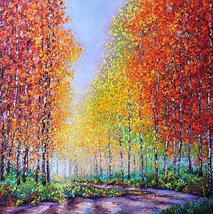 Kimberly Adams_Aspens in Autumn__Oil_40x