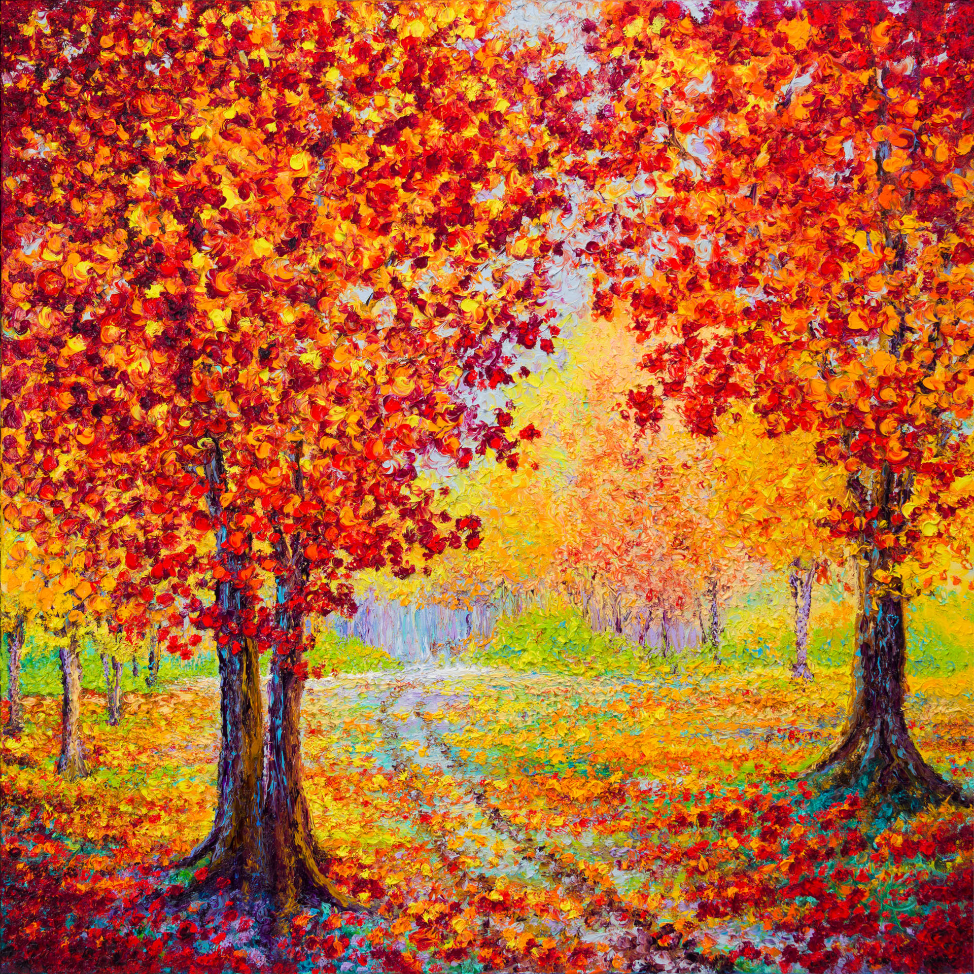 COUNTRY ROAD IN AUTUMN 36X36in
