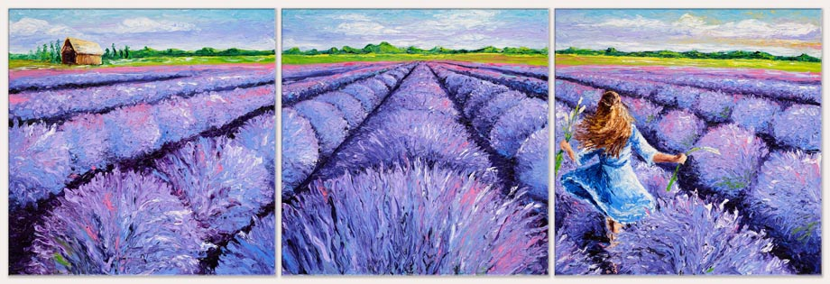 LAVENDER BREEZE TRIPTYCH / 24X72in