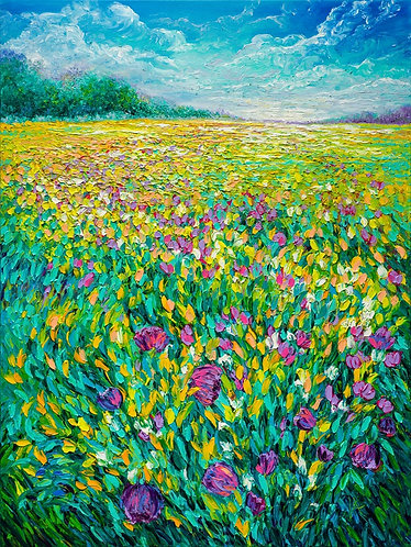FIELD IN BLOOM / 40X30in