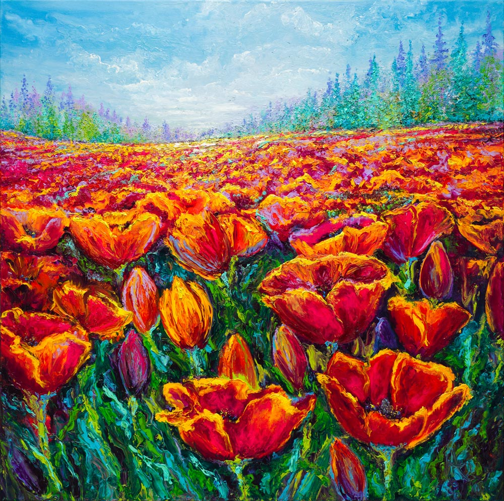 TULIP FIELD / 36X36in