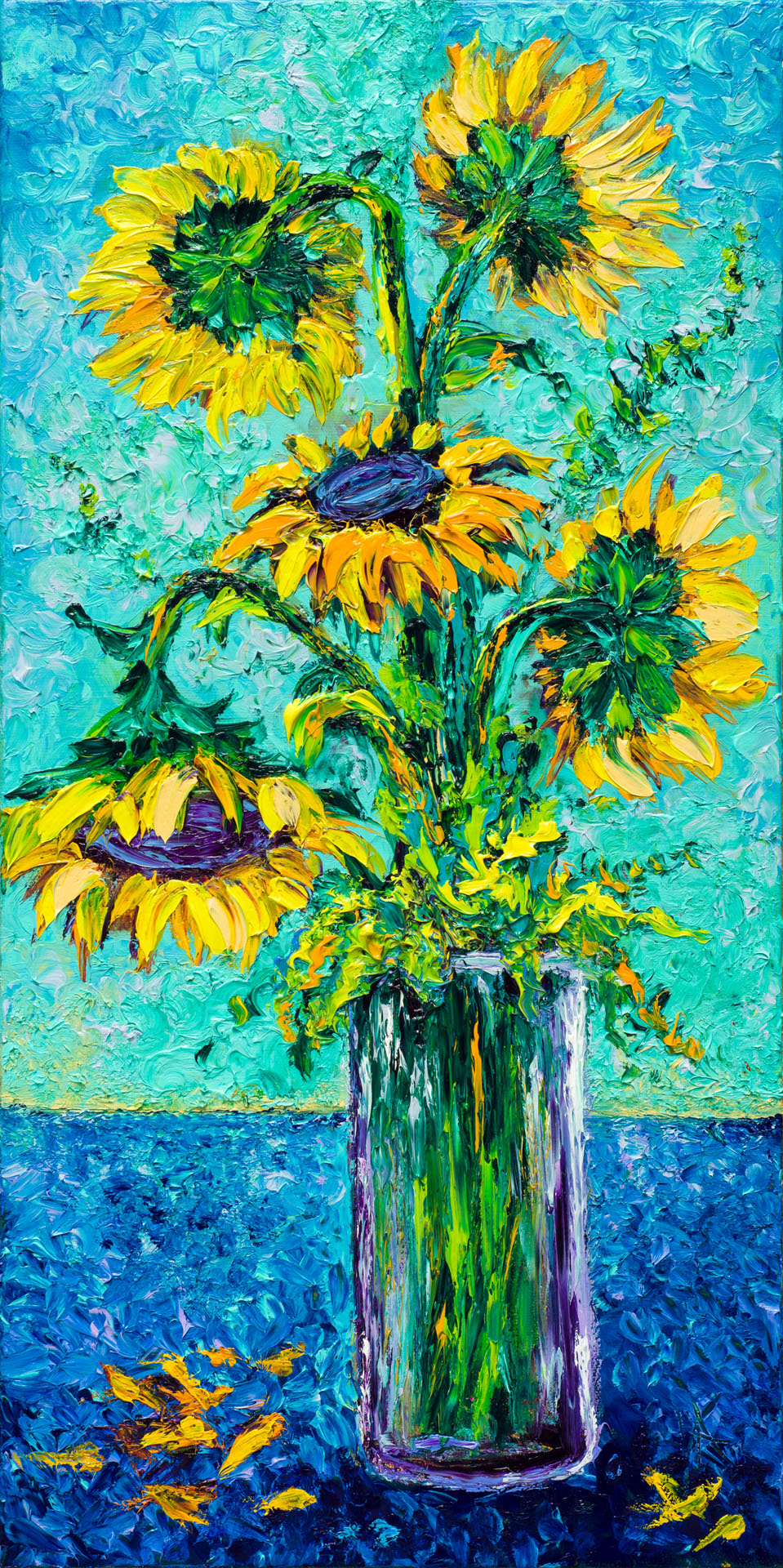 SUNFLOWERS / 12x24in