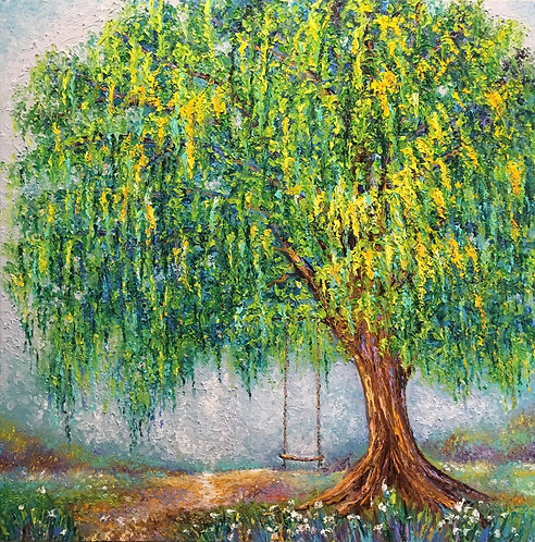 UNDER THE WILLOW TREE / 36X36in