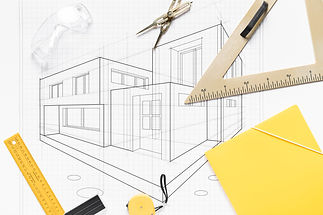 טריו הנדסה אזרחית | בדק בית | תמונה של שרטוט מבנה וכלים למדידה