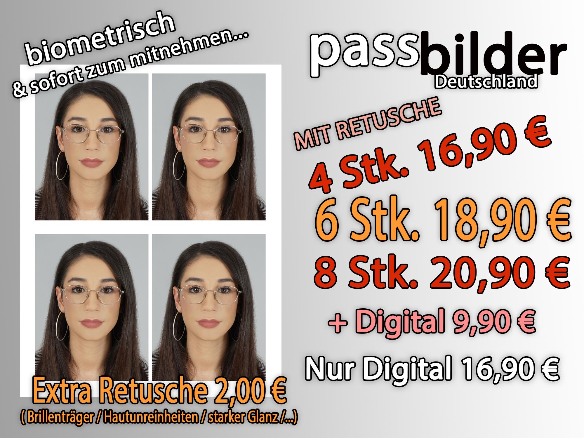 Passfotos Deutschland mit Retusche
