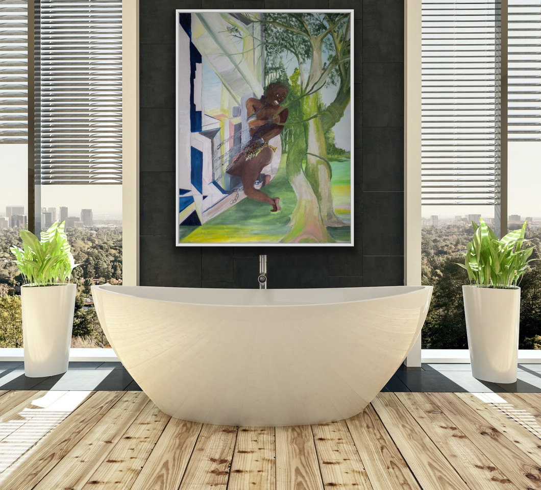 Edwin Fountain art in bathing situation