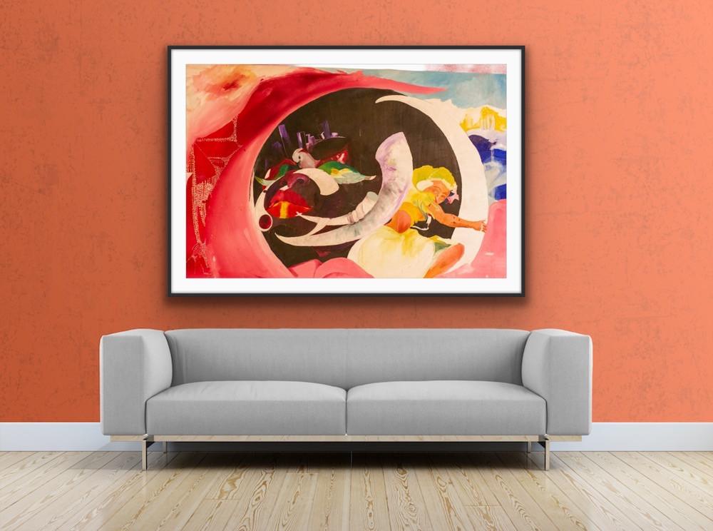 Edwin Fountain art salmon room w/ couch