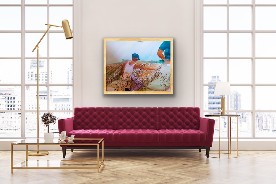 Edwin Fountain with cranberry couch.JPG