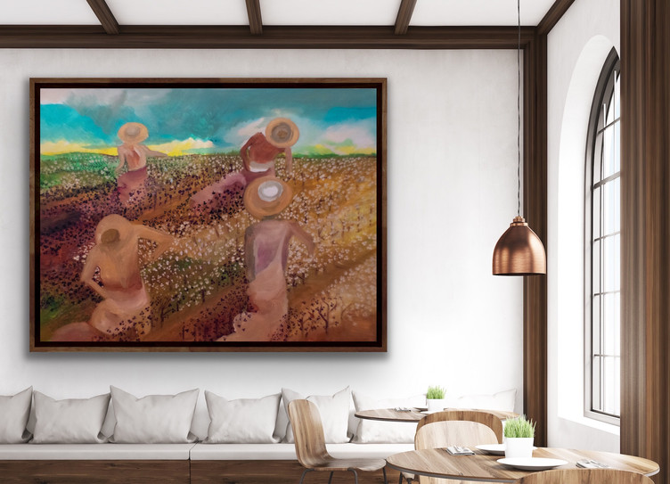 Edwin Fountain art in brown living room