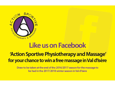 """Win a Massage by liking """"Action Sportive Physiotherapy and Massage"""" on Facebook.  All the"""