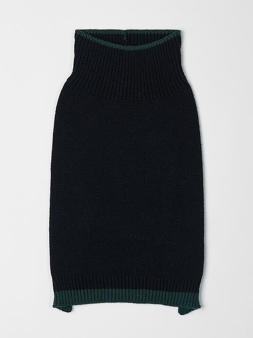 סוודר שחור עם פס אפור