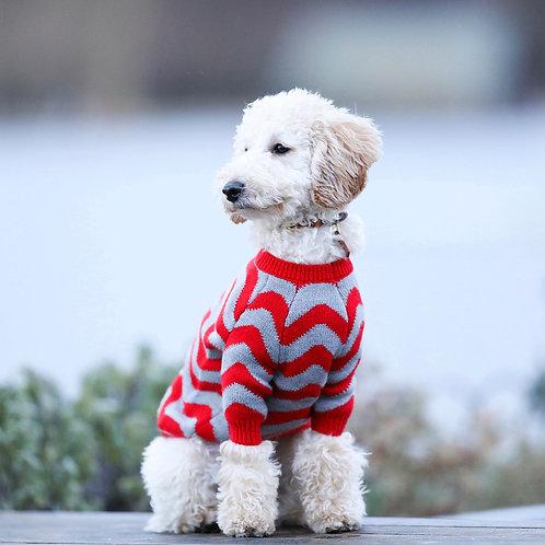 סוודר אדום אפור