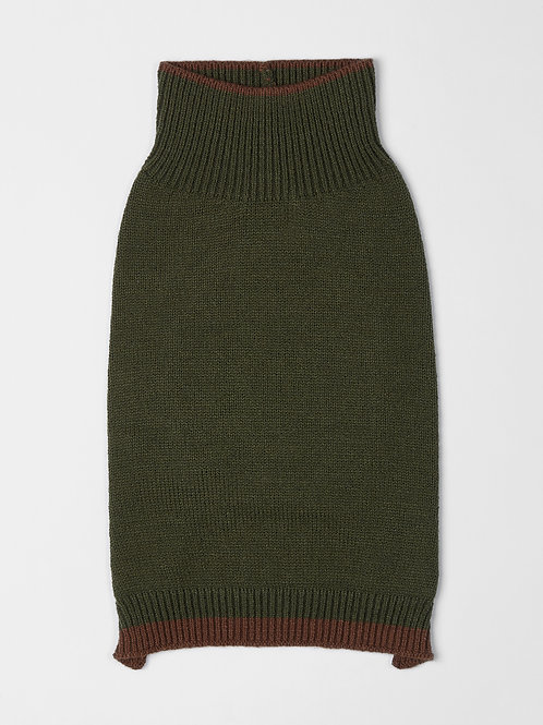 סוודר ירוק עם פס חום