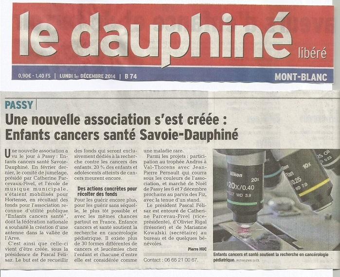 Article Dauphiné Libéré 01.12.2014