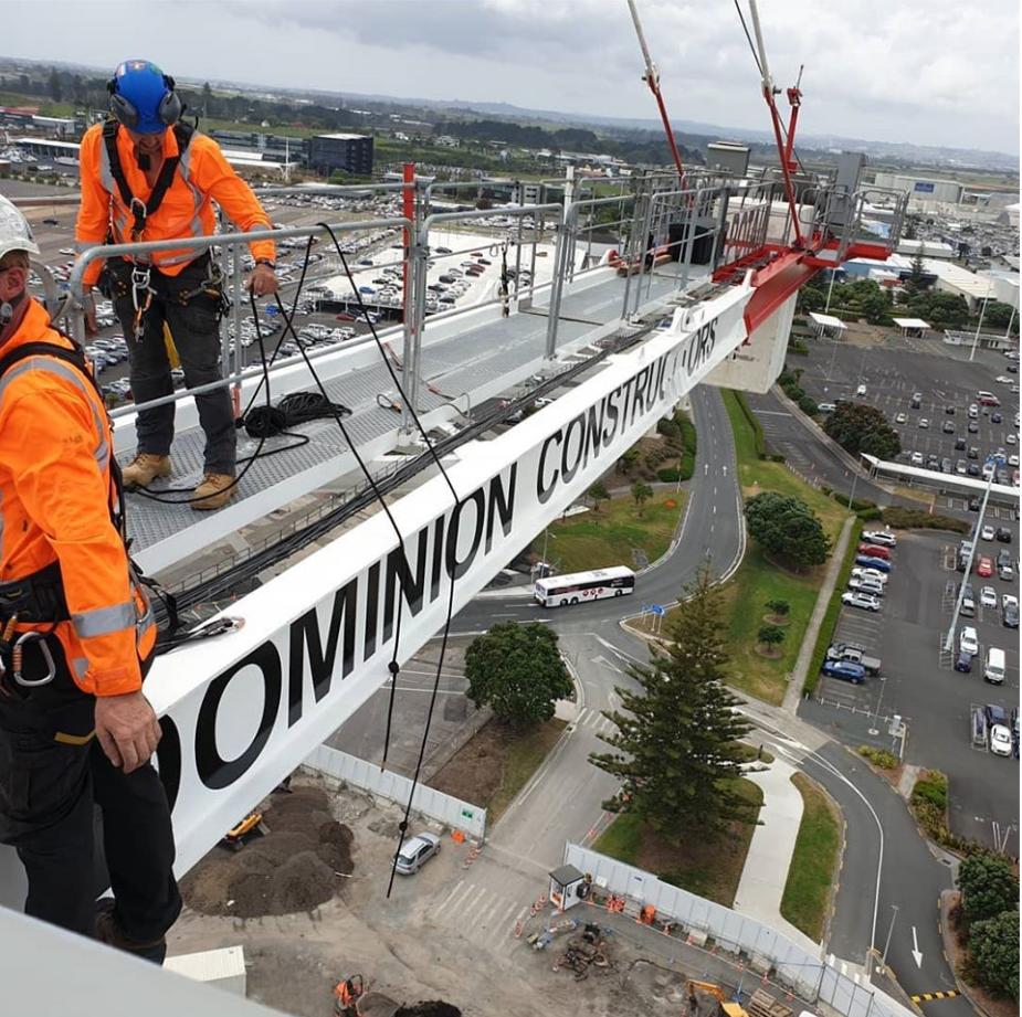 Dominion Constructors crane signage