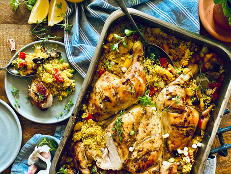 Spatchcock one pot lemon, garlic & thyme chicken with couscous