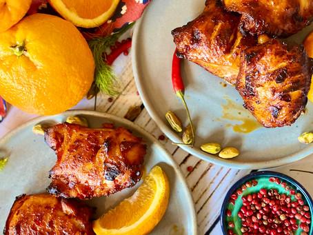 Sticky orange and harissa chicken.