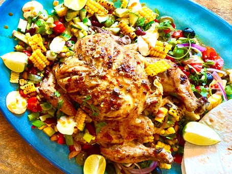 Tequila & Lime chicken with Mexican griddled corn salad.