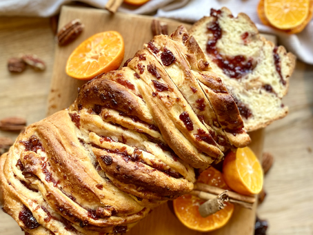 Cranberry, pecan and clementine Babka