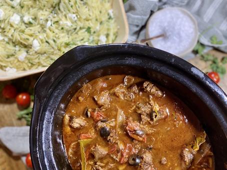 Slow cooker Beef Stifado with Orzo & Feta