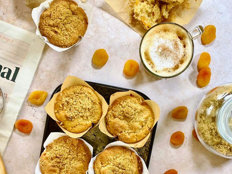 Giant apricot & ginger muffins