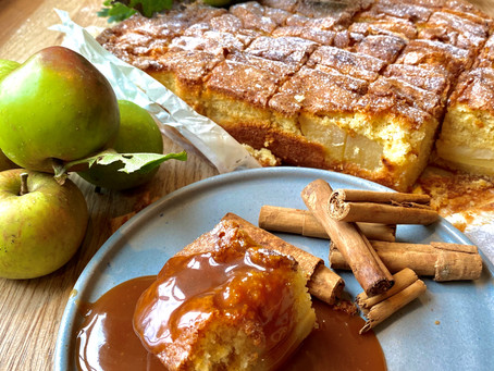Autumnal apple and cinnamon traybake with salted caramel sauce.