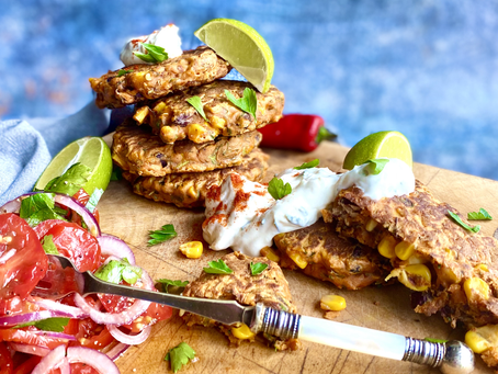 Spicy Mexican corn & bean fritters