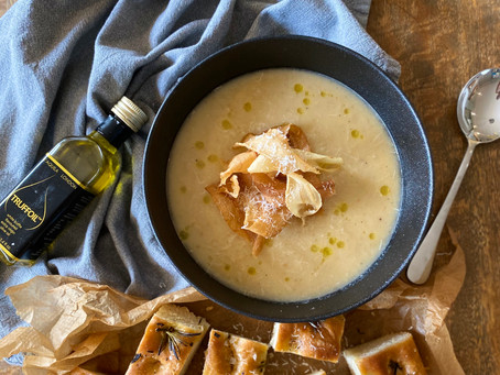 Roast parsnip & parmesan soup with parsnip crisps and truffle oil.