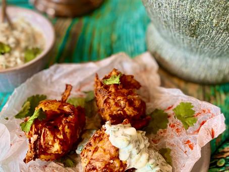Easy onion Bhajis with mint raita (V)