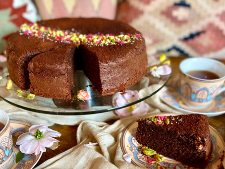 Dark chocolate, rose and cardamom cake
