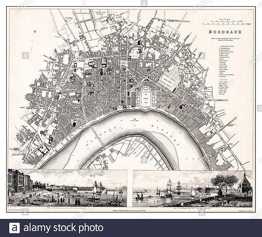 bordeaux-vintage-1830-archives-bordeaux-city-map-une-gravure-de-plaques-d-acier-datant-de-