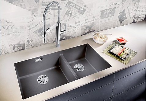 Blanco Subline 480/320-U Silgranite Double Bowl Undermount Sink & Tap Pack