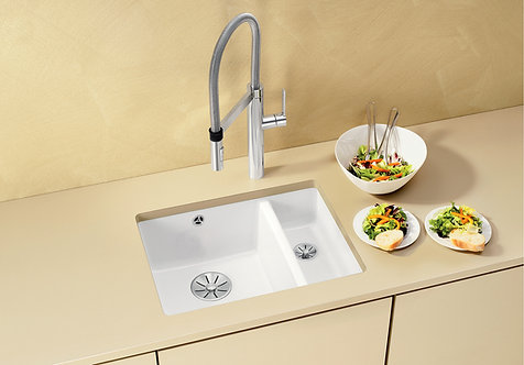 Blanco Subline 350/150-U Ceramic Undermount Sink & Tap Pack Crystal White