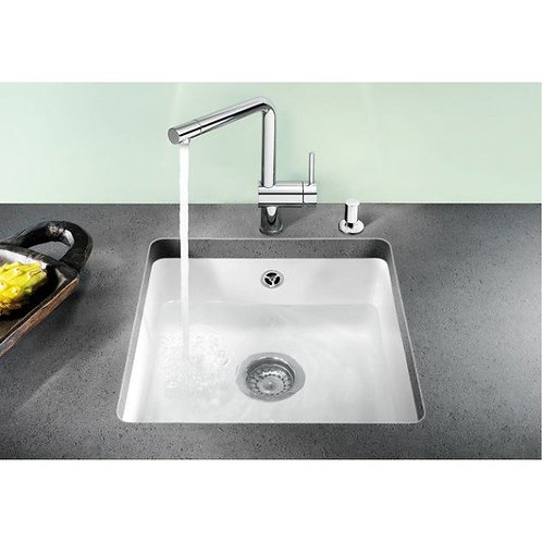 Blanco Subline 500-U Ceramic Undermount Sink & Tap Pack Crystal White 453019